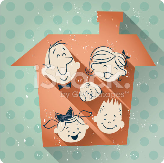 family-house-cartoon-retro