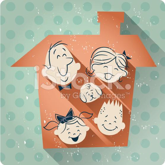 family-house-cartoon-retro