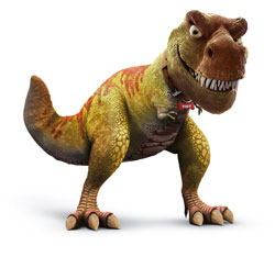 While we're at it, let's give the cave girl a pet dinosaur for comic relief and to sell a few million more toys. I like a mother-%$#@in' T-Rex. How about you?