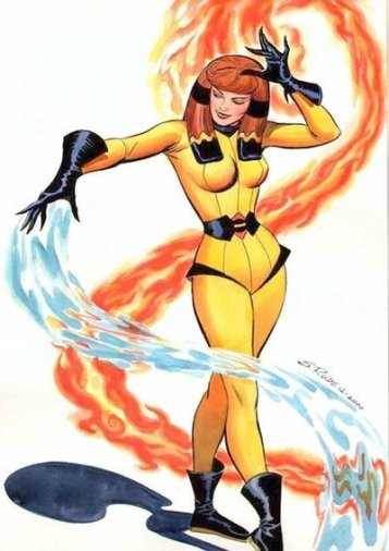 She can psionically control the forces of air, earth, fire and water, i.e., controlling the elements.