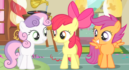 From left to right, Sweetie Belle, Apple Bloom and Scootaloo