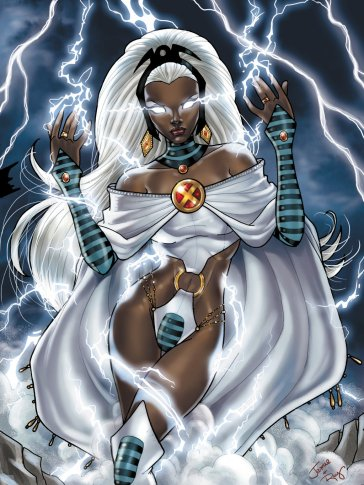 She can mentally command and control the forces of wind, rain, thunder and lighting. A mistress of controlling the elements.