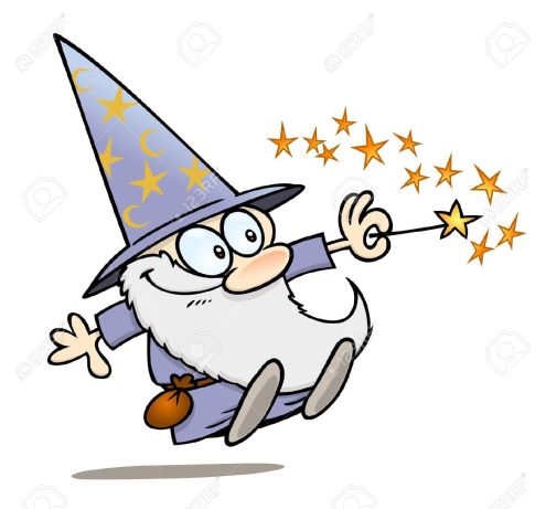Happy-cartoon-wizard-with-a-magic-wand-Stock-Vector