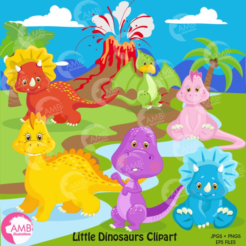 dinosaur-clipart-baby-dinosaur-dinosaur-digital-clipart-volcano-background-digital-clipart-commercial-use-amb-1203-58c88a281